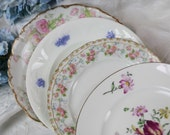"Mismatched China 4 Vintage Floral Plates Pink Purple Limoges Adderly English Crown Staffordshire Wedding Bridal Shwer Lunch Plates 8"" Shabby"