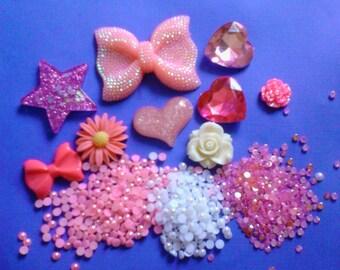 Kawaii sparkling pink decoden deco diy charm cabochon set  242--USA seller