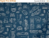 ON SALE REMNANT--Navy Blue with White vintage Cars Blueprint Print Pure Cotton Fabric--1.25 YardS