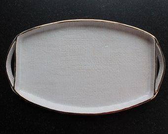 GOLD RIM Burlap Pottery Tray - White - Ceramic Appetizer Plate - Serving Tray
