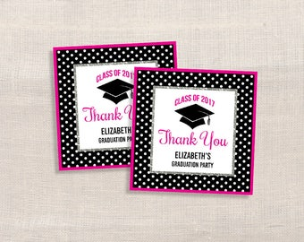 Personalized Graduation Favor Tags, Hot Pink & Black Thank You Tags, DIY Printable, PERSONALIZED