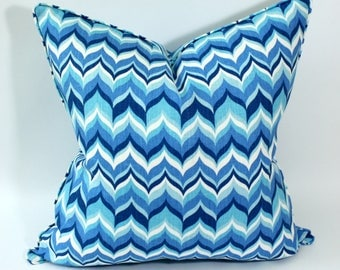 Jonathan Adler Wabash Aquamarine Blue Pillow Cover, Linen Pillow, Cushion, Toss Pillow, Kravet
