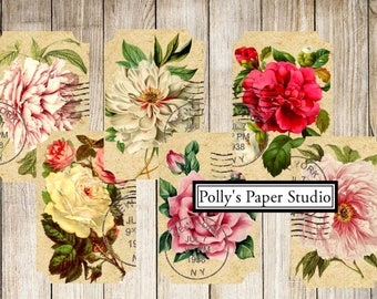 Dollar Download Flower Tickets Collage Digital Images printable download file 9 images