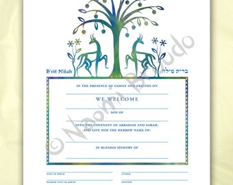 Digital/Editable download B'rit Milah Certificate, Biblical Animals and Flowers, pdf form, blue, green