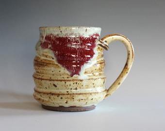 Pottery Mug, 14 oz, handthrown ceramic mug, stoneware pottery mug, unique coffee mug