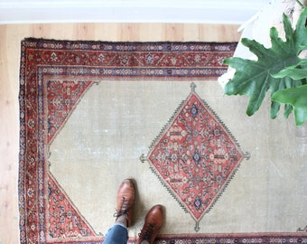 antique Persian rug, rustic and worn bohemian rug, early 1900's geometric rug 4' x 6.4'