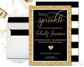 GOLD & BLACK Baby Sprinkle Invitation, Baby Shower Invitation Neutral, Boys Baby Shower Invitation, Gold Glitter, Baby Shower Invites