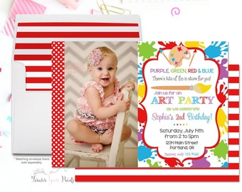 Art Party Invitation - Art Birthday Invitation - Art Party Invite - Girls Art Party - Painting Party - Craft Party - Painting Invitation