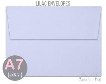 LILAC A7 Envelopes, 5x7 Invitation Envelopes, 5x7 Envelopes, Lavender Envelopes, Peel and Press Envelopes, Wedding Envelopes, Purple