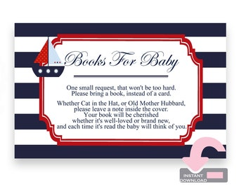 Nautical Book Request Card - Sailboat Book Request Card - Books For Baby Cards - Bring A Book Card - Bring A Book Insert - Baby Boy Shower