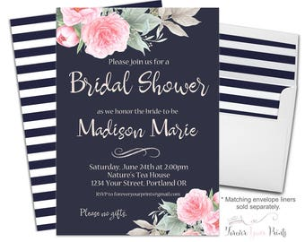 Floral Bridal Shower Invitation - Watercolor Bridal Invitation - Floral Bridal Invite - Printable Engagement Invite - Engagement Invitation