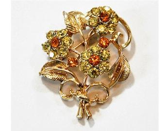 1960s Coro Amber and Peridot Rhinestones Flower Bouquet Brooch Pin