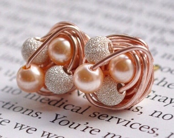 Petite Mix it Up Series - Rose Gold Wire Wrapped Stud Earrings With Stardust Beads and Peach Swarovski Glass Pearls