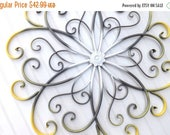 ON SALE GRAY // Yellow //White // Large Metal Wall Art // Bedroom Wall Decor //Flower Wall Art