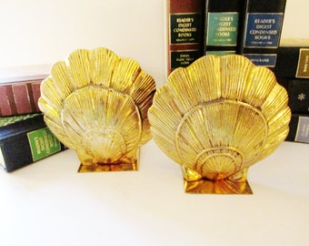 Vintage Golden Clamshell Bookends, Hollywood Regency, Palm Beach Decor, Library Decor, Williamsburg