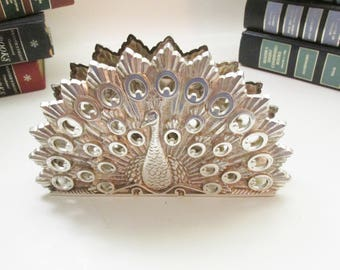 Silver Plated Peacock Letter Holder, Napkin Holder, Hollywood Regency, Home Office Decor, Silver Peacock, Mail Holder