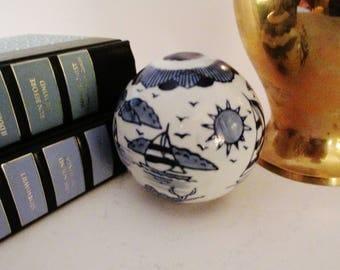 Nautical Carpet Ball, Giftcorp Blue and White Round Ball, Palm Beach Decor, Nautical Decor, Sailboat