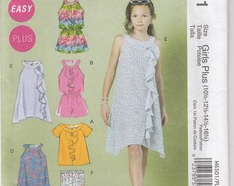 Easy Dress Pattern Romper Top Leggings Girls Plus Size 10 1/2 - 16 1/2 Uncut McCalls 6501