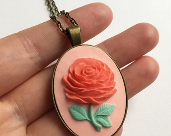 Red and Pink Primrose Cameo Antique Brass Necklace