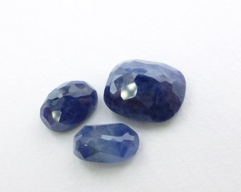 Natural Sapphire Faceted Cabochon. Diffusion Treated. Gorgeous Color. 3 pc. 7.23 cts. 8x10 / 6x8 / 5x8 mm  (S1543)