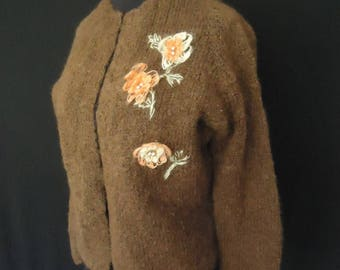 Brown Mohair Wool Vintage 1950's Women's Rockabilly Cardigan Sweater M