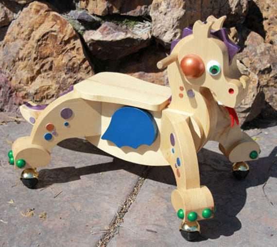 Wooden Dragon Riding Scooter Handcrafted- Toddler.  INDIE - The Blue Winged Dragon MADE in the USA by Spinderellas Creations
