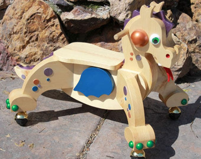 Featured listing image: Toddler Riding Scooter Handcrafted Dragon Indie- The Blue Winged Dragon MADE in the USA by Spinderellas Creations