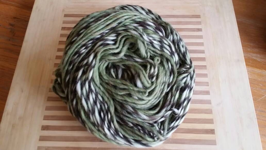 Super Chunky Merino Variegated Singles Yarn for Knitting, Crochet Colorway Lichen Twist by Spinderellas Creations