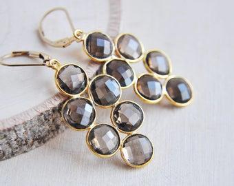 Smoky Quartz Earrings, Brown Topaz Earrings, Brown Earrings, Quartz Earrings, Long Earrings, Everyday Earrings, Gold Filled Earrings