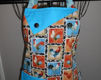Rooster Squares Women's Apron