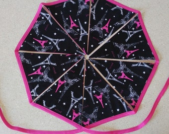 Paris  Eiffel bunting banner garland 8 flags party prop decor animal print black hot pink white fabric cotton 105 inches