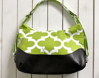LARGE Lime Green Chameleon bag - Shoulder Bag - Diaper Bag Backpack - Backpack - Quick Change Bag to Backpack