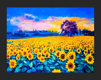 Oil Painting Landscape Painting Canvas Art Framed Art Sunflower Field Painting Wall Art  Large Art Canvas Painting by Ivailo Nikolov