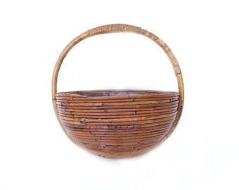 Vintage Boho Hanging Planter ... Round Bohemian Mid Century Rattan Basket, Circular Tiki Plant Holder, Rustic Chic Tropical Hanging Bowl