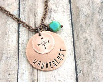 Wanderlust Compass Necklace - Gift for Travelers - Compass Rose - Travel Jewelry