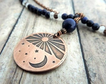 Blue Beaded Celestial Necklace - Etched Copper Sun Moon Stars - Celestial Jewelry - Crescent Moon - Double Strand