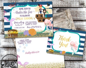 Mermaids and Pirates - Birthday or Any Event - - DIY Printing or Professional Prints via Convo