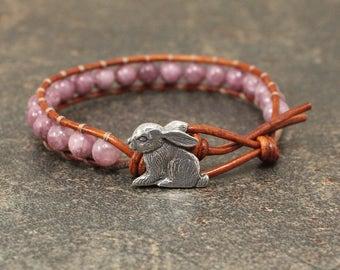 Gemstone Bunny Bracelet Pink Bunny Jewelry Shabby Boho Chic Rabbit Jewelry