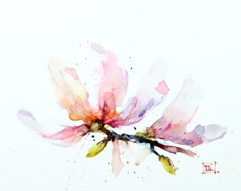 MAGNOLIA BLOSSOM Watercolor Print, Flower Painting, by Dean Crouser