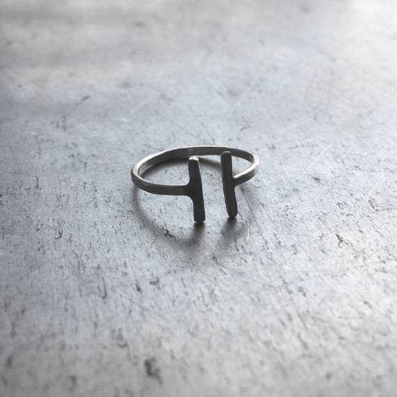 Silver Double T-Bar Ring