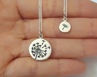 Sterling Silver Dandelion necklaces, Two necklaces, Mother Daughter Necklace, Kids Jewelry, Birthday Gift, Mother's Day Gift