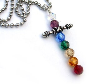 Cross Necklace Crystal Bead Rainbow Chakra
