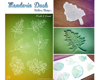 FRESH & GREEN Mandarin Duck Texture Stamp - silicone, polymer, ink, papercrafts, fabric, polymer clay