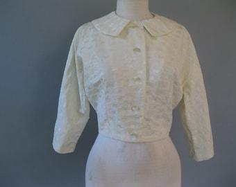 Ivory Jacket - 1960s Vintage Cropped Jacket - 60s Brocade Coat - Wedding Jacket