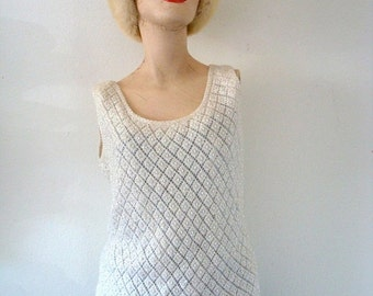 ON SALE 1950s-60s Beaded Sweater - ivory wool sequin knit top - shimmy shake