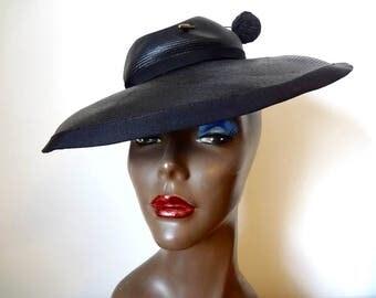 1940s Tilt Hat - wide brim black straw hat with pin - vintage art deco accessory