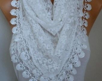 Creamy White Lace Scarf, Wedding Shawl Scarf Women Scarves Cowl Scarf Bridesmaid Gift Bridal Accessories Women Fashion Accessories