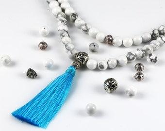 Make Your Own Mala. White Howlite Beads. Choose Your Tassel Color. DIY Bead Kit. Mala Kit. 108 8mm Gemstone Beads.