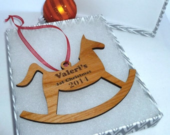 Personalized Rocking Horse  Ornament Alder Wood Engraved with the Year & Name