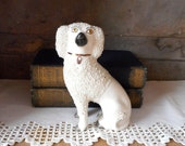 "Antique Staffordshire Ware Dog Figurine Confetti Poodle Pottery 6"" Tall"